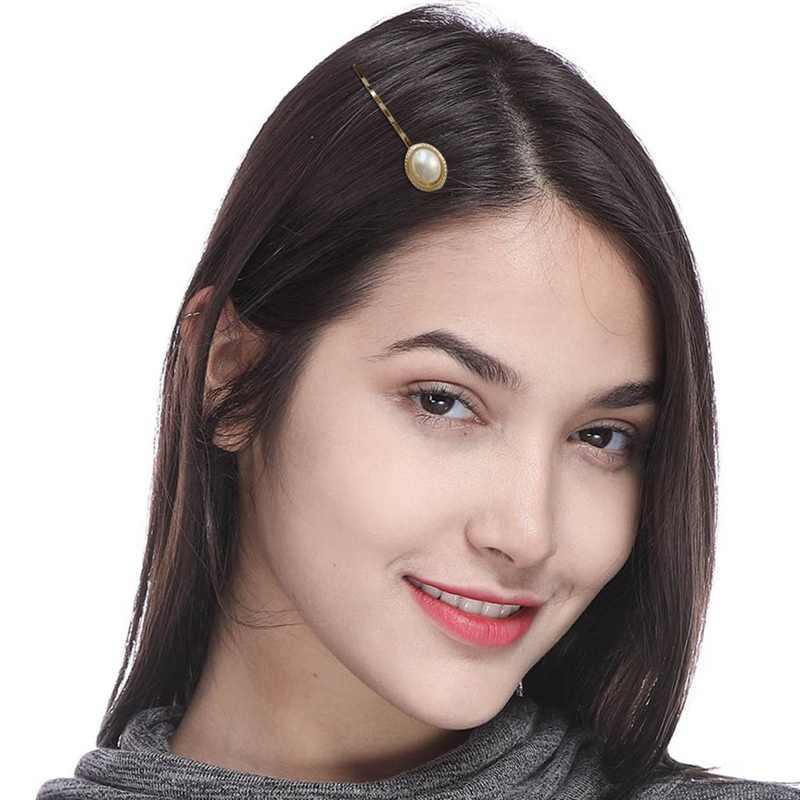 Новые Винтажные заколки-короны с металлическими цветами и пуговицами из искусственного жемчуга для женщин, ретро зажимы для волос оптом