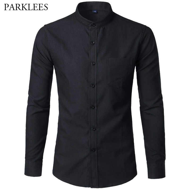 メンズブラックマンダリンカラースリムフィット長袖シャツ男性 2018 春秋の新カジュアルオックスフォードドレスポケット camisas