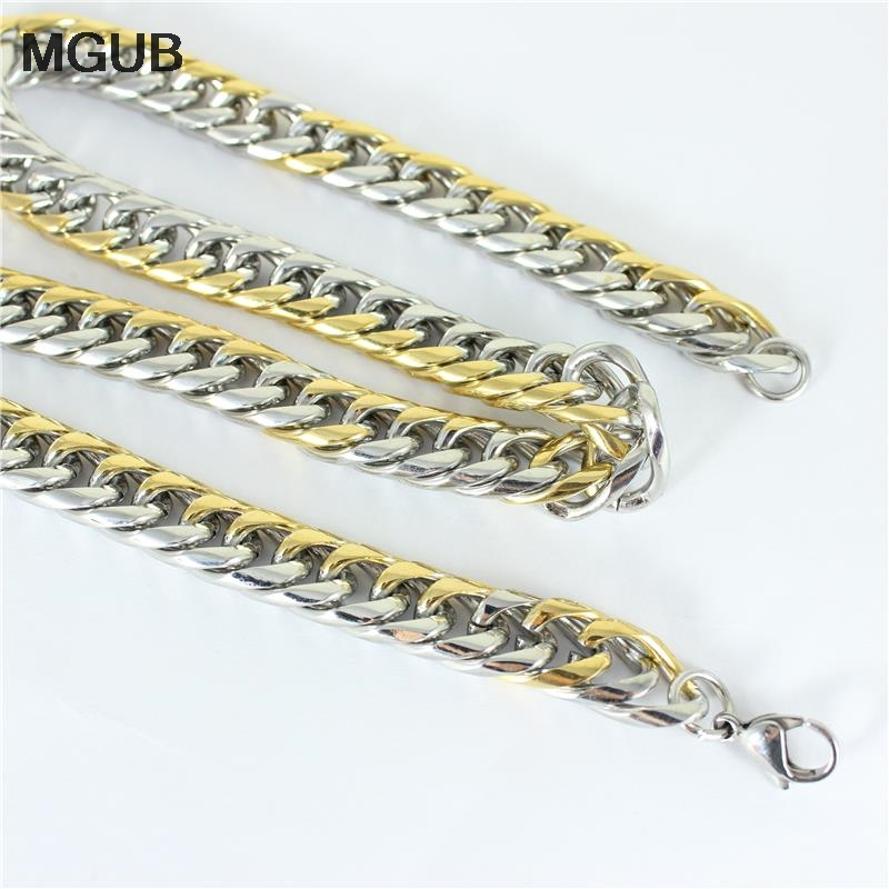 SUSU classic fashion jewelry MGUB 6mm Mens Boys Gold color Tone Link Necklace Stainless Steel Chain Wholesale Price men jewelry Free Shipping HY50