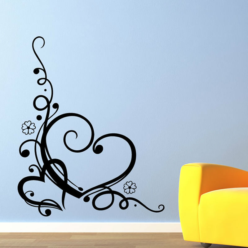vinyl art swirl heart wall decal black printed nature style living