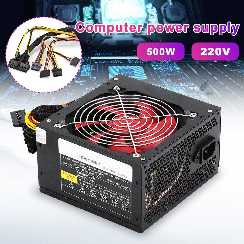 Escritorio de potencia de 400 W/500 W tranquilo de conmutación de potencia 12 V ATX BTC de alimentación SATA 20PIN + 4PIN fuente de alimentación de la computadora para Intel AMD PC