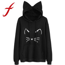 Feitong Womens Hoodies Sweatshirts Lovely Long Sleeve Cat Ear Print O Neck Casual Hooded Pullover Sweatshirt sudadera mujer 2018