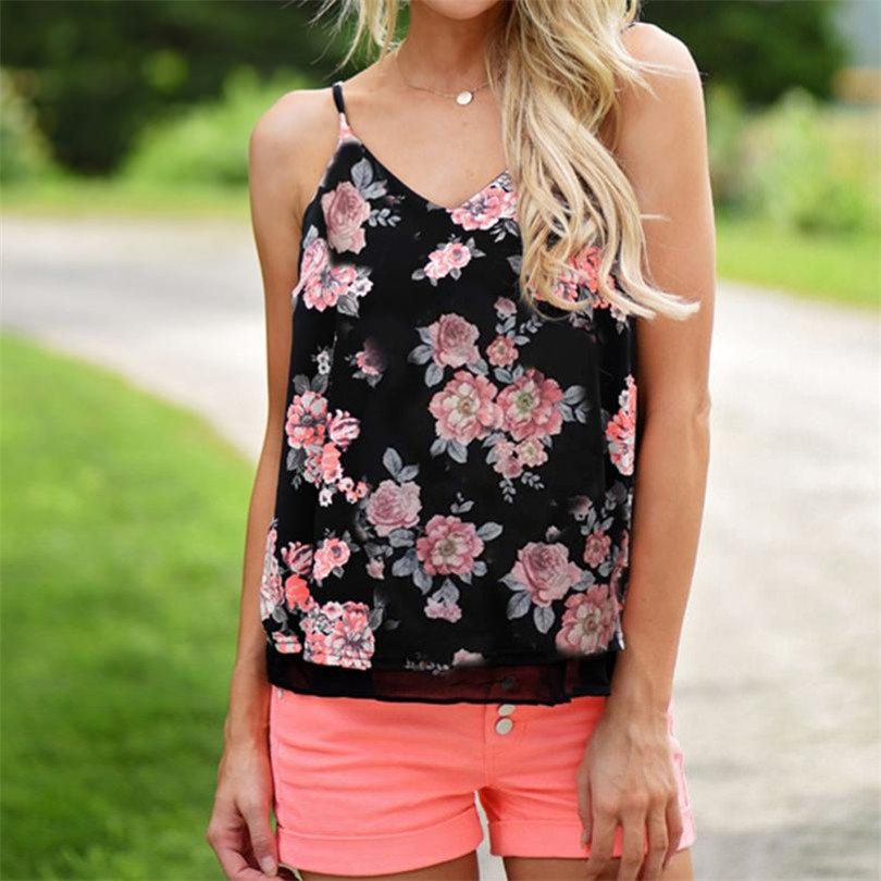 @ hotselling crop top Womens Sleeveless Flower Printed Tank Casual Tops T Shirt