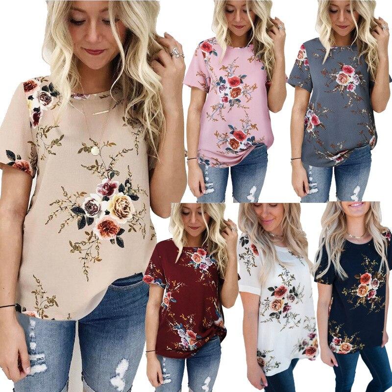 2018 חדש קיץ צמרות חולצה נשים אופנה מקרית Vintage קצר שרוול פרח הדפסת חולצות T בתוספת גודל רופפת חולצת טי ליידי למעלה