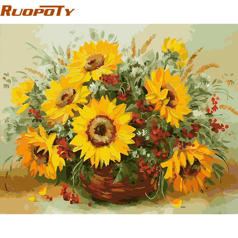 RUOPOTY diy frame Colorful Sunflower DIY Painting By ...