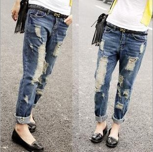 fashion Women Hole flanging brushed loose jeans can collapse pants denim straight - Online Store 923589 store