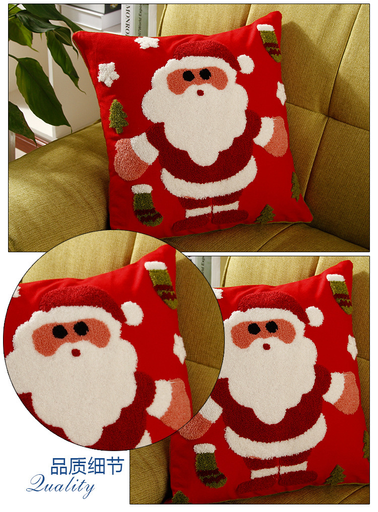 Merry Xmas Cushion Cover Snowman Father Christmas Snowflakes Embroidery Pillow Cotton Pillowcase Gift 45x45cm In From Home Garden On