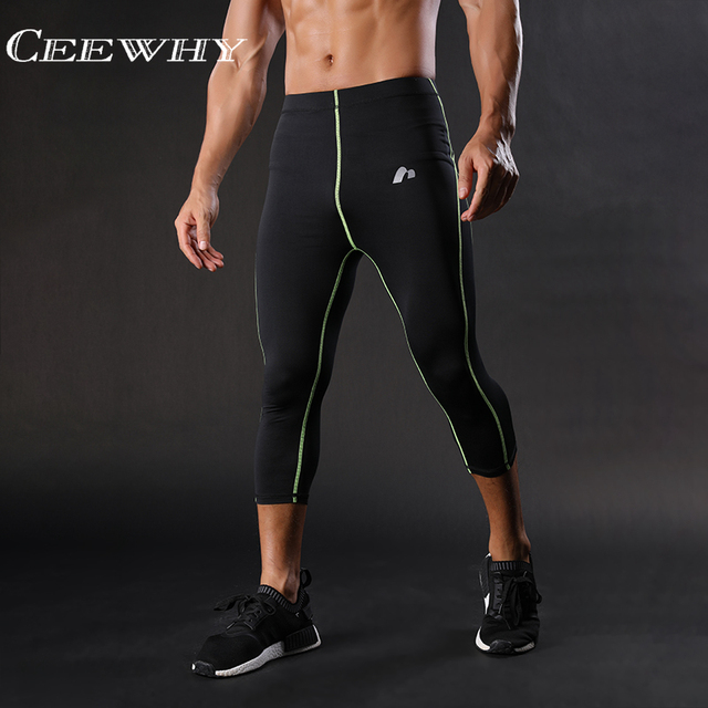 488ee7a127 CEEWHY Three Quarter Skinny Sweatpants Men Compression Pants Leggings  Bodybuilding Fitness Pants Elastic Trousers Quick Drying