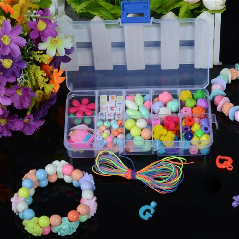 Toys For Girls 10 Years Children's Puzzle Bracelet Geometric Shape Beads Diy Amblyopia Candy Colors Wear Bead Kids Birthday Gift