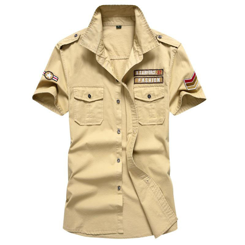New Military <font><b>Men's</b></font> Casual <font><b>Shirts</b></font> Short Sleeve Summer Fashion 100% Cotton Fit Slim Casual <font><b>Shirt</b></font> For <font><b>Men</b></font> Pull Home <font><b>6XL</b></font> CEJH105 image