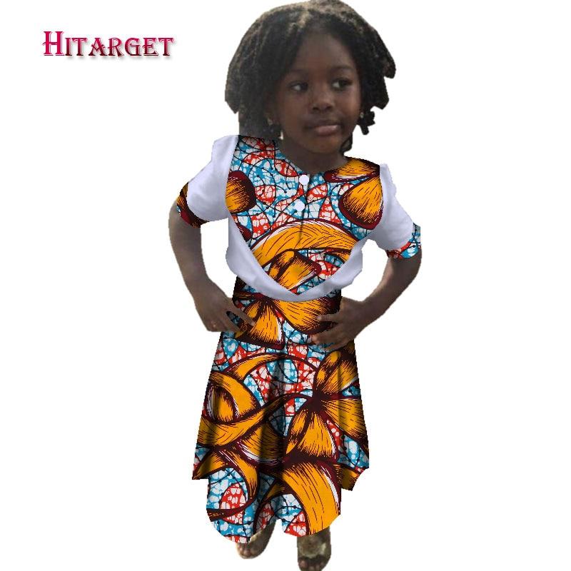 cc8e01cd804c08 Cute African girl kids shirt+skirt dashiki Traditional 100% print cotton  Matching Africa Print girl natural Dress Summer WYT217