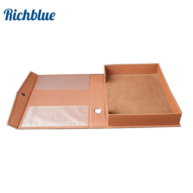 PU Leather A4 Paper File Box Document File Organizer Business Gift A4 File Stationery Holder Desk Organizer Data Storage Box