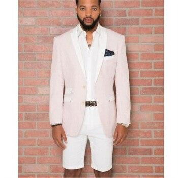 2018 Custom Made Beige Men Tuxedo With White Peaked Lapel White Short Pant 2 Pieces(Jacket+Pants+Tie) Tuxedo Slim Summer Style