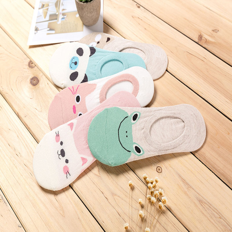 HTB1sA1WQjTpK1RjSZKPq6y3UpXax - 5 Pairs/lot Women Socks Candy Color Small Animal Cartoon Pattern Boat Sock for Summer Breathable Casual Girls Funny Fashion