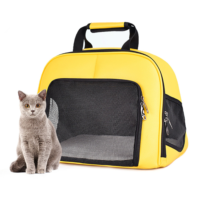 Pet Cat Carrier Foldable Travel Bag Breathable Outdoor Handbag Pet Production for Cats Dog Multi-functional Fashion Yellow 1