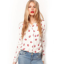 New Fashion Women Sexy Red Lips Prints Chiffon Blouse Ladies