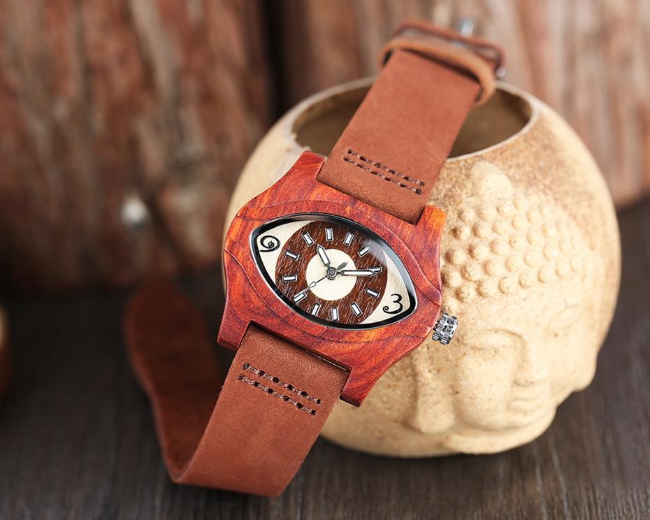 2017 Retro Red Wood Watch Creative Eyes Design Unique Men Women Natural Wooden Quartz-watch Genuine Leather Handmade Unisex Christmas Gifts (13)