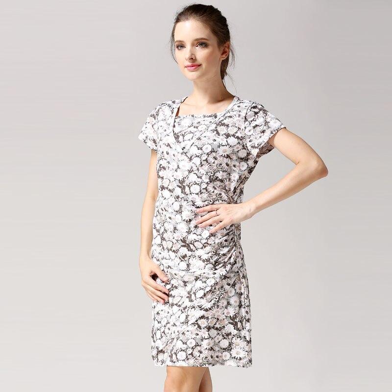 ac162aba5aa20 US $15.29 49% OFF|Emotion Moms Flower Nursing Dress Breastfeeding Dresses  for Pregnant Women Short Sleeve Summer Maternity Dress Clothing-in Dresses  ...