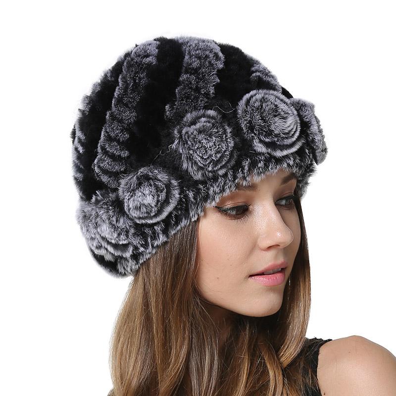 Women Winter Warm Real Fur Caps Girls Knitted Rex Flowers Decoration ... 9c74052dde5