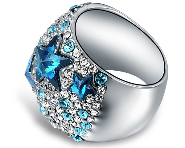 3bf9abc03 Ninabox Blue Star Exaggerated Ring Made With Genuine Austrian Crystal 18k  White Gold Plated Fashion Women Jewelry,RAG04985WB-in Rings from Jewelry ...