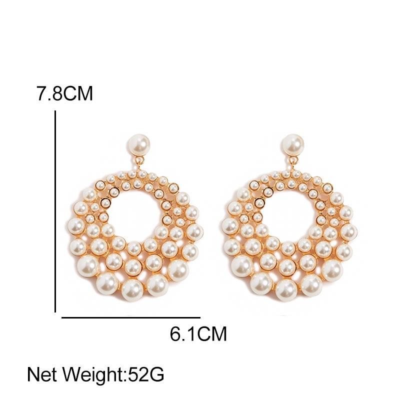 Flatfoosie 2019 Summer Pearl Drop Earrings For Women New Big Pendant Statement Freshwater Pearl Earrings Metal Jewelry Gifts