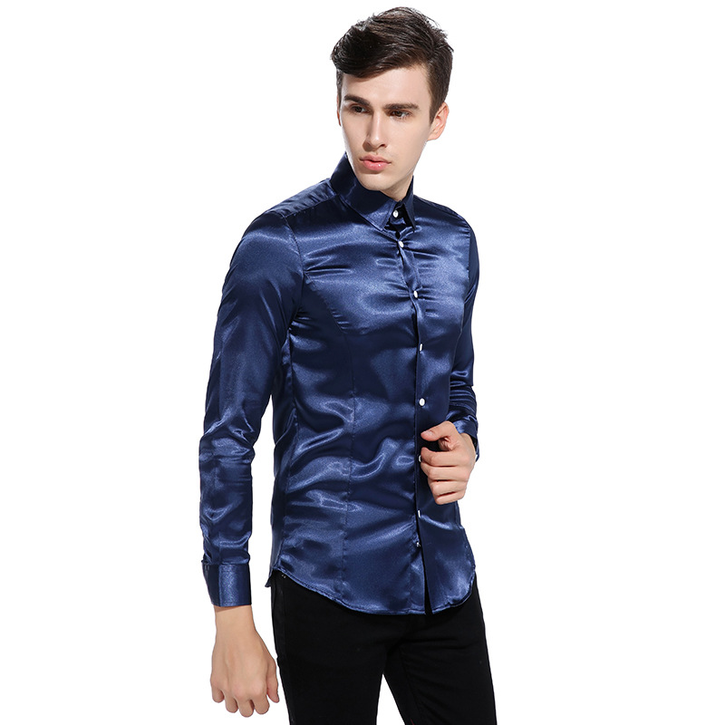 Silk Satin Shirt Men Chemise Homme 2017 Fashion Mens Slim Fit ...