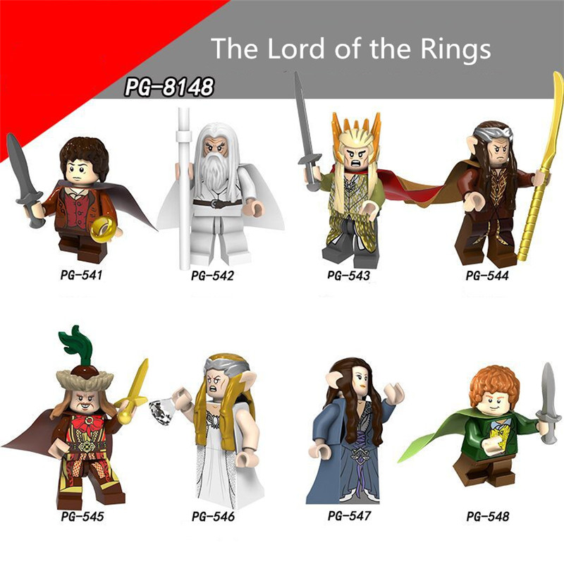 80Pcs Frodo The Lord of the Rings Figure Gandalf Thranduil Elrond Galadriel Merry Building Blocks Models Bricks Legoing Toys new women elegant white dress up clothes lord of the rings the hobbit lady galadriel cosplay costume fariy dress customized