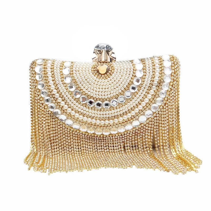 2016 women gold tassels evening bag luxury clutches diamond banquet clutch purse party bags for girls tassel clutch bag JXY373