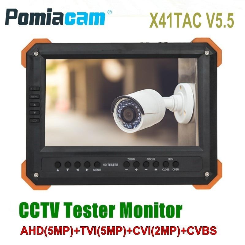 2018 обновленная X41TAC V5.5 7 дюймов ЖК-дисплей CCTV тестер монитора 5MP AHD TVI CVI CVBS безопасности Камера тестер VGA HDMI вход 12 В выход