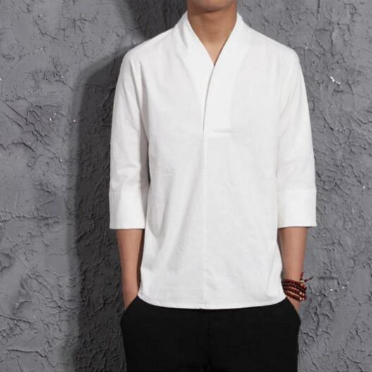 Chinois linge de style sept manches t-shirt hommes folk style rétro coton cinq manches manches T-shirt mâle moitié manches t-shirt hanfu