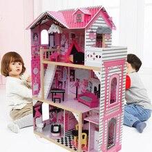 80*42*120Cm Meisjes Roze Houten Poppenhuis Luxe Houten Pop Villa Met Pop Meubels Prinses Huis pretend Speelgoed Verjaardagscadeau