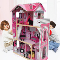 80*42*120cm Girls Pink Wooden Doll House Luxury Wooden Doll Villa with Doll Furniture Princess House Pretend Toy Birthday Gift