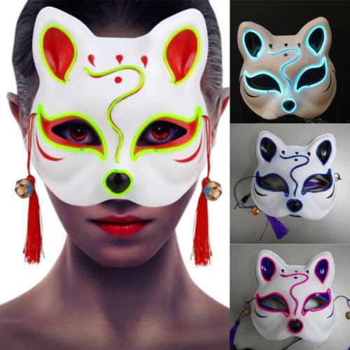 Half Face Hand-painted Anime Fox Mask Kitsune Halloween Party Cosplay Accessery