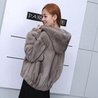 2018 new women's mink fur coat short hooded jacket outwear