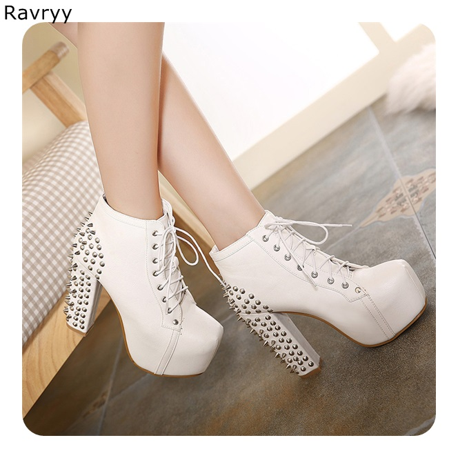 Lace Up White Woman's ankle boots Long Rivet Model Show Fun Club Party Motorcycle short Boots Female Shoes Platform Thick Heel