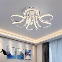 Cromo terminado cristal led luzes de teto para sala de estar quarto sala de estudo casa deco 90-265 v moderno rc lâmpada do teto luminárias