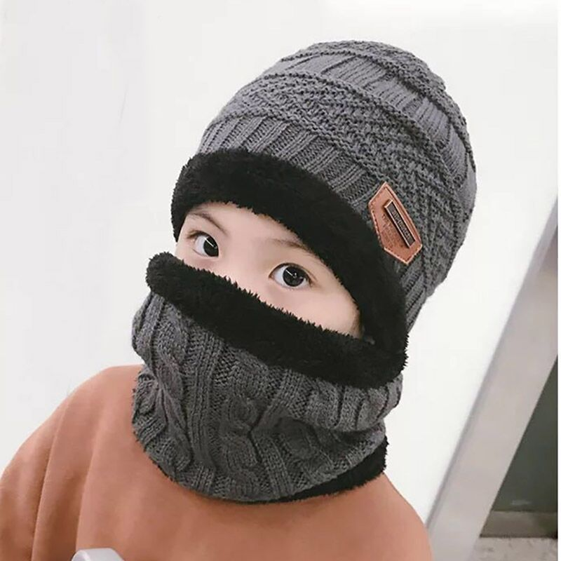 2pcs baby knit Hat Autumn Winter Beanies knitted hat beanie scarf for 2-14 years old boys and girls children cap Casual Skullies