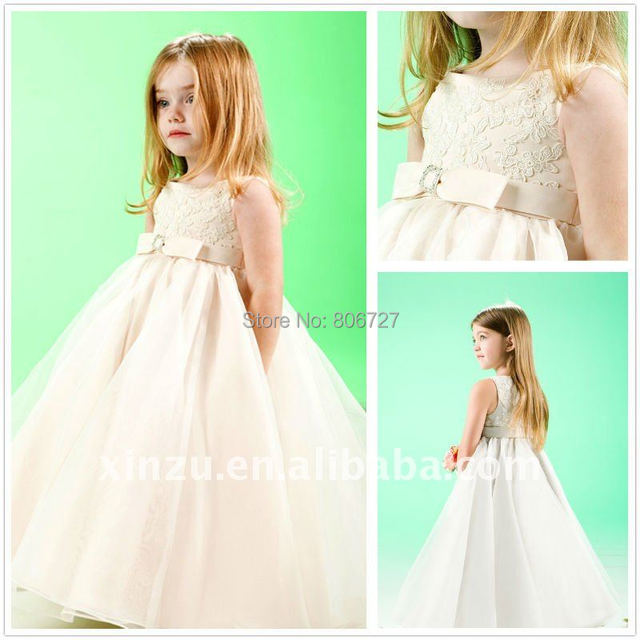 9221a5b667 Christmas Funky Style Round Neckline Applique Empire Waist A-line Flower  Girl Dress--FGD5053