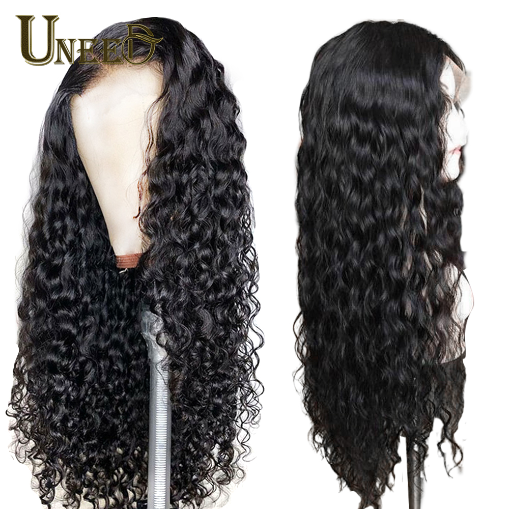 4x4 Lace Front Human Hair Wigs Pre Plucked For Women Brazilian Water Wave Lace Frontal Wig With Baby Hair Remy Human Hair(China)