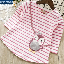Cute penguin sequin girls tops stripe Girl T-shirt pink Long Sleeve Tops Cartoon girl Autumn girls sequin tops t shirts kids