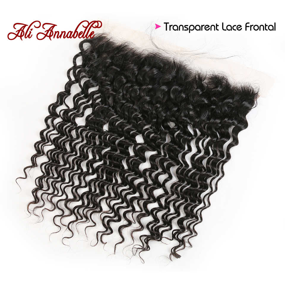 13*4 Deep Wave Transparent Lace Frontal Ear To Ear Free/ Middle Part With Baby Hair Pre Plucked Brazilian Human Hair Frontal