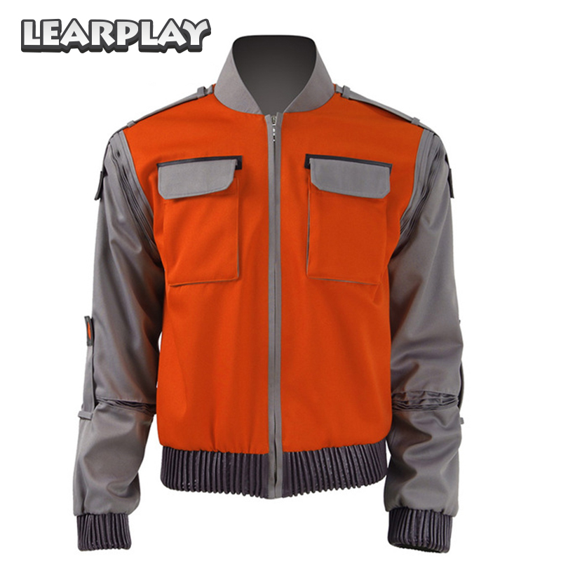 Back To Future Marty Mcfly Jacket Cosplay Costume 2017 Man Coat New Casual Outwear Halloween Suit with Pocket ...
