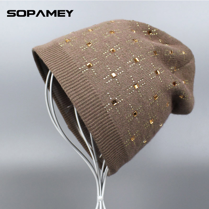 MASKS Knitted Hats for Women Winter Cap Snowboard Mask Hat With Rhinestones Women's Hats Women's Autumn Beanie Gorro Masculino кошельки бумажники и портмоне petek 355 041 10