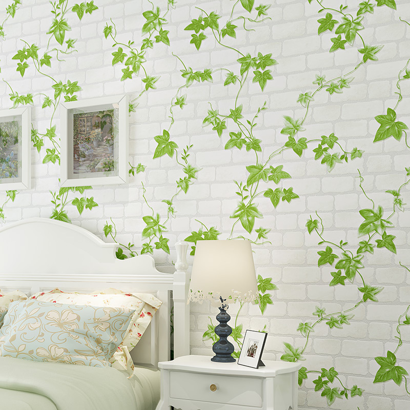 US $45.39 |Colomac 3D non woven white green leaves pvc living room bedroom  living room wallpaper roll waterproof bedroom decor wall paper-in ...
