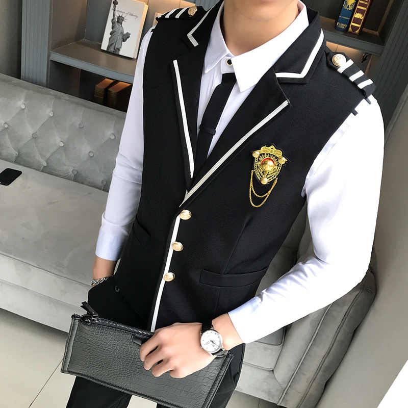 New Turndown Collar Solid Gilet Homme Costume Chaleco Hombre Single Breasted Business Formal Wear Suit Vests For Men 2019 Spring