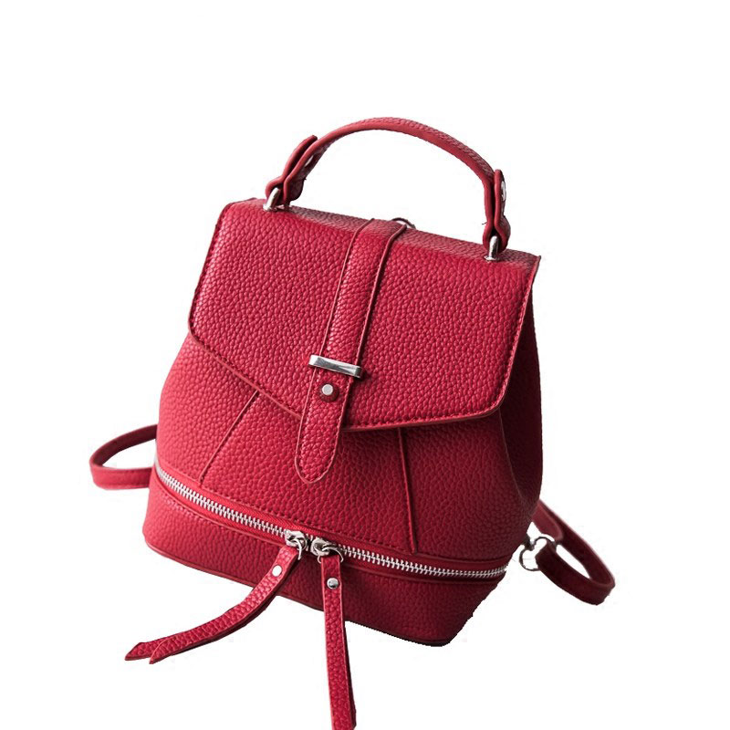 NEW Ladies Designer PU Leather Small Hand Bag Three Functional Small Packsack Daypack Belt Buckle Fashion