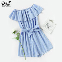 Dotfashion Frill Bardot Self Tie Striped Romper Blue And White Striped Romper Off The Shoulder Short