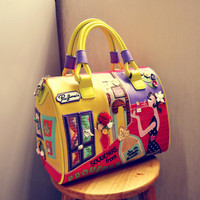 Boston Totes Leather Handbags Embroidery Appliques Cartoon Printing Designer Luxury Handbags Women Bags Landscape