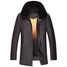 2017 Zipper Natural Sheepskin Fur Coat Fashion Casual Designer Brand Black and Brown Coat T0253