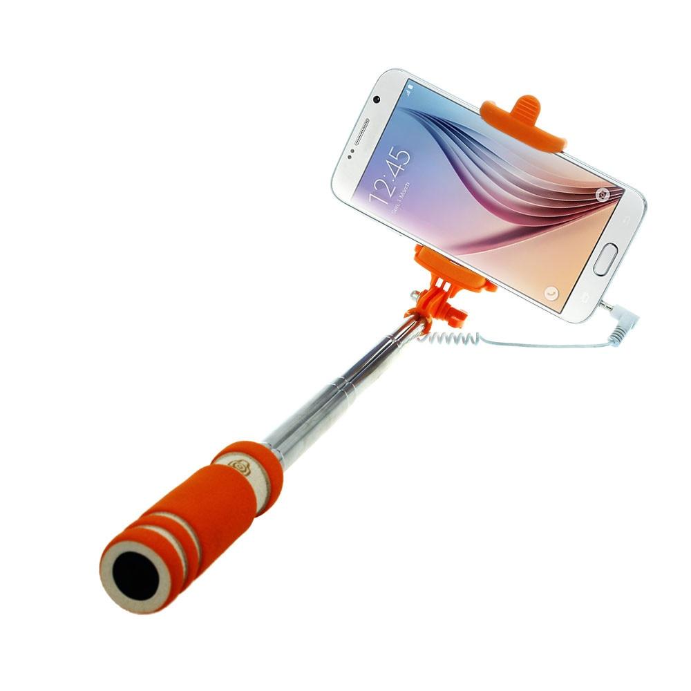 Malloom 2017 Mini Wired Selfie Stick Handheld Monopod Tripod Camera Extendable Selfi stik for IOS Android Cell phones Orange